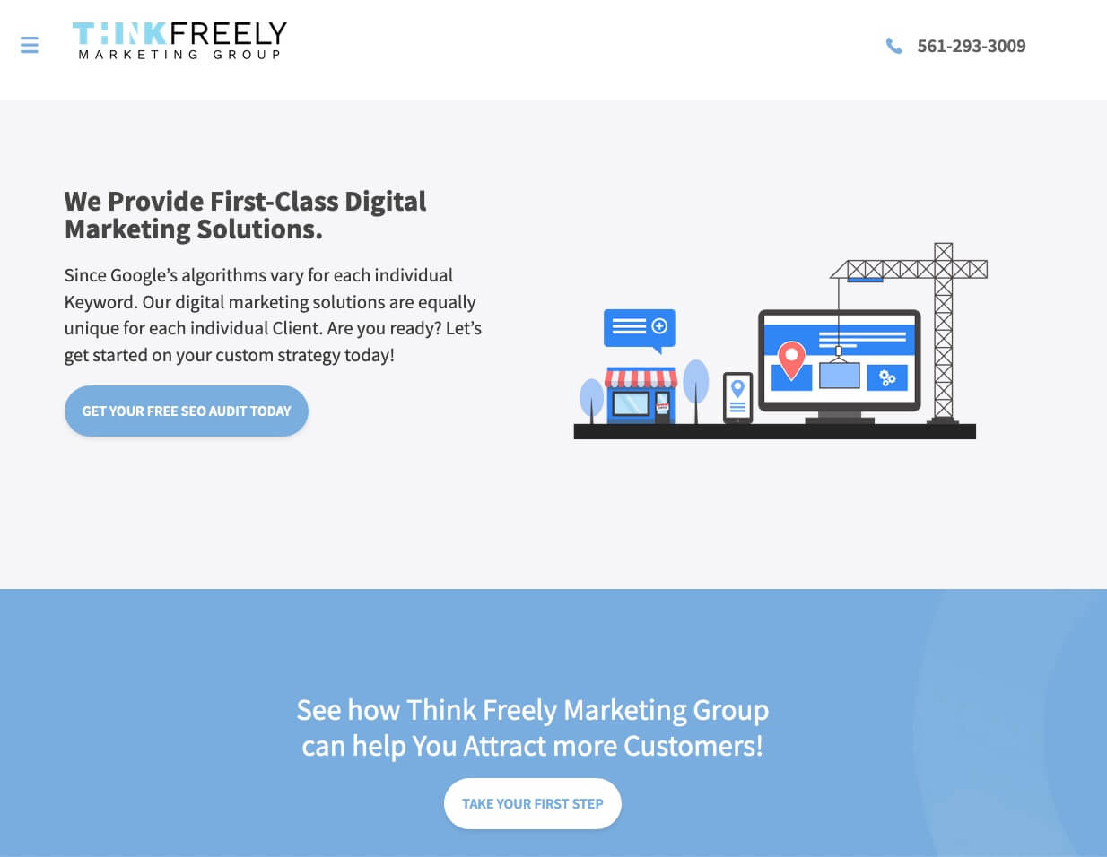 website of my digital marketing agency think freely marketing group